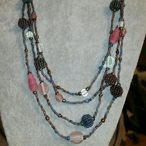 Beautiful Berry Bead & Glass Crystal Necklace